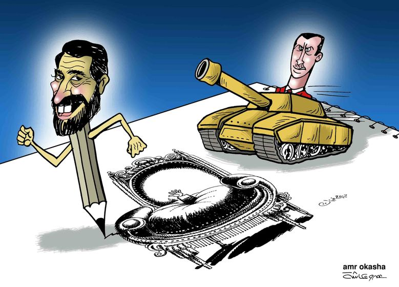 Amr Okasha - Ali Farzat, Syrian Cartoonist's Hand Broken but not His Will