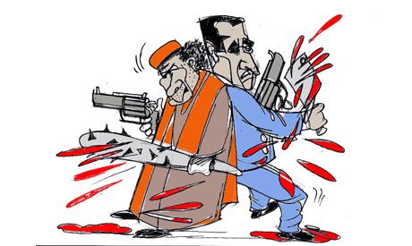 FATHI ABUL EZZ gaddafi and bashar 2011