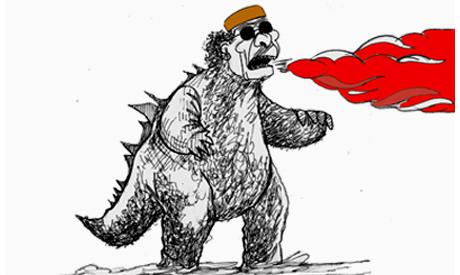 FATHI ABUL EZZ gaddafi as dinosaur 2011