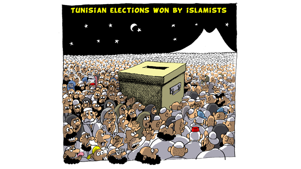 Z Hadj Tunisia election won by islamists. The Kaaba in Mecca is transformed into a ballot box surrounded by voters supporting Nahda the islamist part that won a majority in the elections