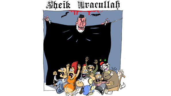 Z Sheik Dracullah. Rachid Ghannouchi, Nahda's leader, is depicted in less than flattering light