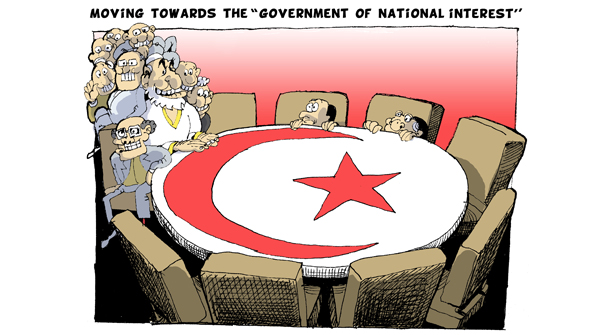 Z moving toward a govt of national interests. At a table emblazoned with the Islamic cresent politicians crowd behind mr Ghannouchi
