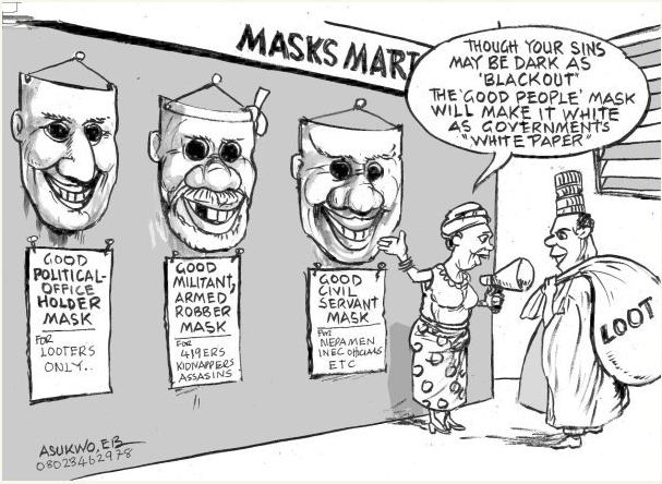 EB Asukwo- Masks Mart cartoon