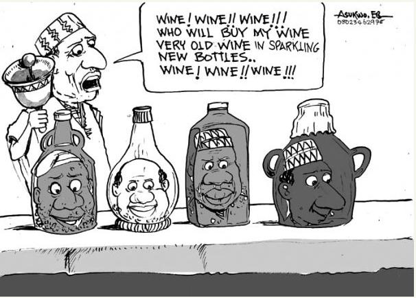 EB Asukwo- Old Wine New Bottles cartoon
