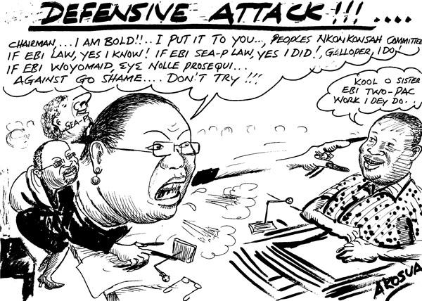 Akosua - Defensive Attack- corpulent woman politician