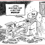 Tayo Fatunla- Waiting for a Better World cartoon