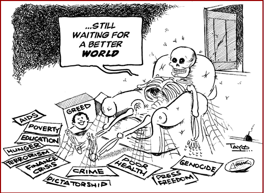 Tayo Fatunla- Waiting for a Better World cartoon