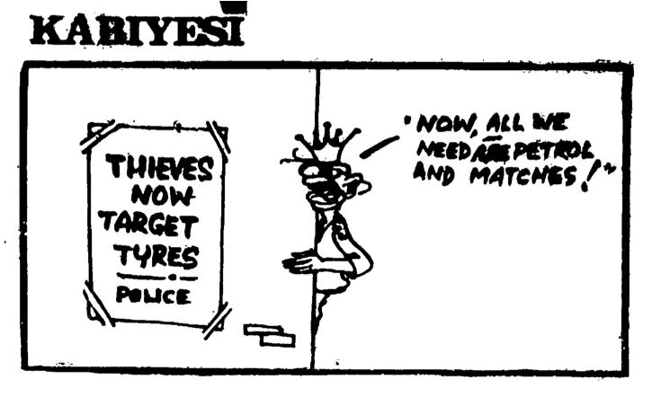 Dotun Gboyega- Thieves Target Tires cartoon