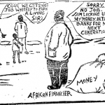 Akinola Lasekan- African Financier cartoon
