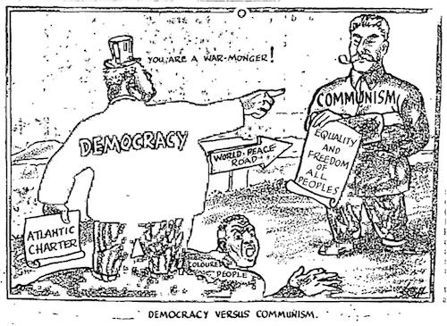 Akinola Lasekan- Democracy vs Communism cartoon