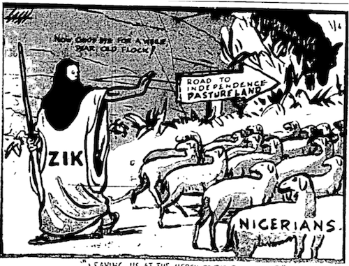 Akinola Lasekan- Independence Pasture cartoon