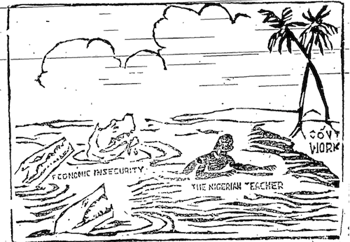 Akinola Lasekan- Nigerian Teacher cartoon