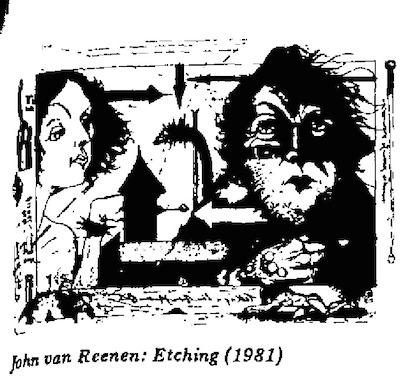 John Van Reenen- Etching cartoon