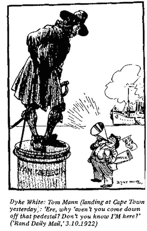 Dyke White- Landing at Cape Town cartoon