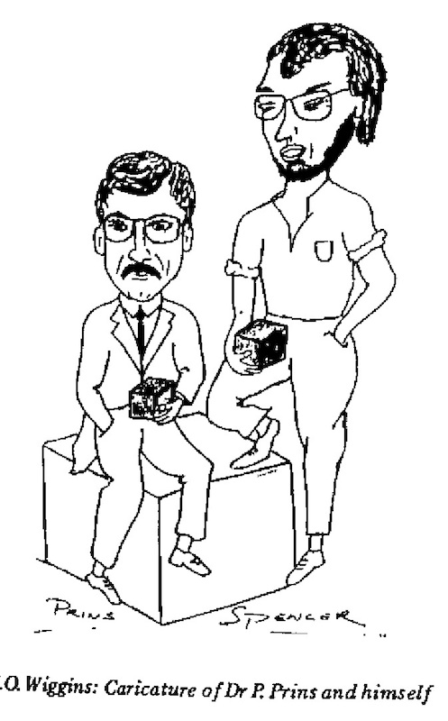 KO Wiggins- Caricature of Dr. Prins and Self