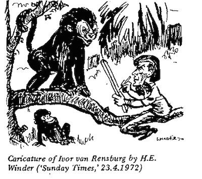 HE Winder- Caricature of Ivor Van Rensburg