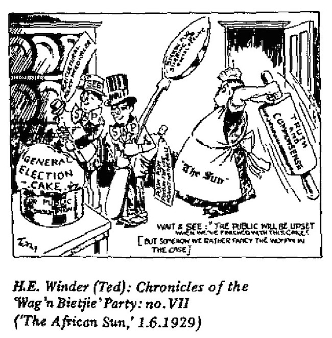 H.E. Winder- Chronicles of Wgan Bietjie Party cartoon